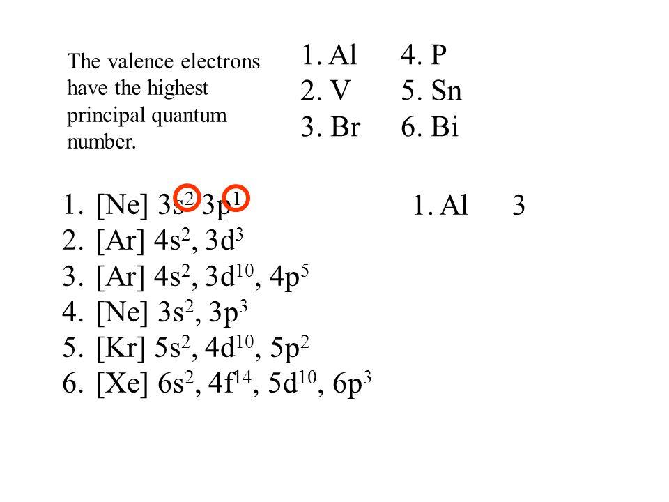 1. Al 4. P 2. V 5. Sn 3. Br 6. Bi [Ne] 3s2 3p1 1. Al 3 [Ar] 4s2, 3d3